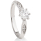 Solitaire Diamond Engagement Ring With Diamond Set Shoulders Thumbnail 2
