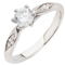 Solitaire Diamond Engagement Ring With Diamond Set Shoulders Thumbnail 3