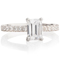 Emerald Cut Engagement Ring With Diamond Set Shoulders Thumbnail 4