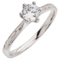 Hand Engraved Brilliant Cut Diamond Solitaire Engagement Ring Thumbnail 3