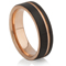 Black and Rose Gold IP Plated Tungsten Carbide Ring Thumbnail 1