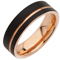 Black and Rose Gold IP Plated Tungsten Carbide Ring Thumbnail 2