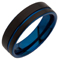 Black and Blue IP Plated Tungsten Carbide Ring Thumbnail 2