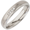 Diamond Set Court Profiled Two Tone Steel Ring Thumbnail 2