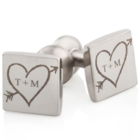 Cuff Links with Tree Drawn Heart and Arrow with Initials