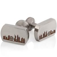 New York Skyline Laser Engraved Titanium Cuff Links