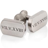Roman Numeral Designed Titanium Cuff Links