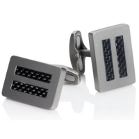 Titanium rectangle carbon fiber cufflinks