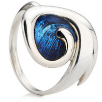 Silver Blue Enameled Ring