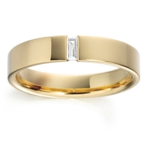 Gold Baguette Cut Diamond Set Wedding Ring