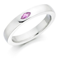 Marquise cut pink sapphire set wedding ring