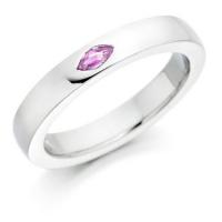 Marquise cut pink sapphire set wedding ring