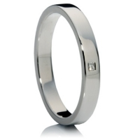 Princess cut flat wedding ring