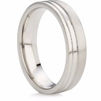 Polished and Satin Grooved Wedding Ring