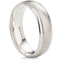 Wedding ring with satin center and polished edges
