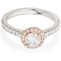 Halo Engagement Ring with Pink Brilliant Cut Diamonds
