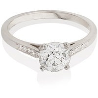 Brilliant Cut Solitaire Engagement Ring with Diamond Set Shoulders