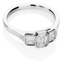 Trilogy Engagement Ring - Bespoke Design with Emerald Cut Diamonds