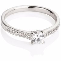 Brilliant Cut Diamond Engagement Ring with Millgrain Edges