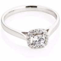 Brilliant Cut Diamond Cluster Ring in a Cushion Shape