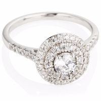 Engagement Ring with Double Row Cluster in Brilliant Cut Diamonds