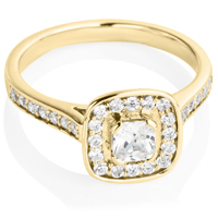 Yellow Gold Cushion Cut Diamond Engagement Cluster Ring