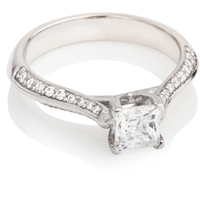 Princess Cut Engagement Ring with Brilliant Cut Shoulders
