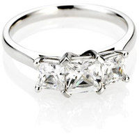 Asscher cut trilogy diamond engagement ring