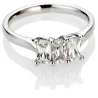 Emerald cut trilogy diamond engagement ring