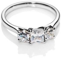 Princess Cut Trilogy Diamond Engagement Ring