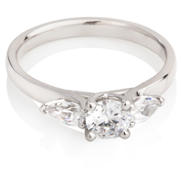 Brilliant and Pear Cut Diamond Trilogy Ring