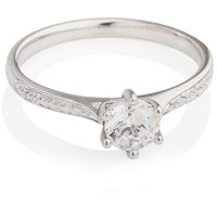 Hand Engraved Brilliant Cut Diamond Solitaire Engagement Ring