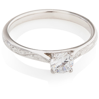 Brilliant Cut Diamond Hand Engraved Solitaire Engagement Ring