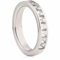 4mm Wide Princess Cut Diamond Half Eternity Ring