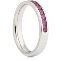Brilliant Cut Ruby Channel Set Half Eternity Ring