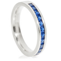 Princess Cut Sapphire Channel Set Half Eternity Ring