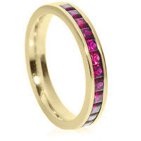 Princess cut ruby channel set half eternity ring