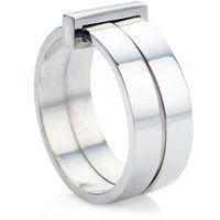 Double ring with silver movable block
