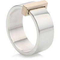 Silver wide ring with 9ct rose gold block