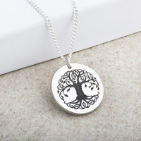 Laser Engraved Tree of Life Pendant