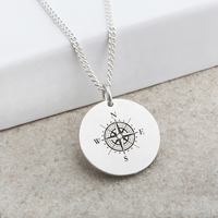 Compass Designed Laser Engraved Pendant