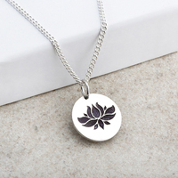 Lotus Flower Laser Engraved Pendant