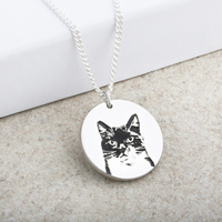 Cat Portrait Laser Engraved Disc Pendant