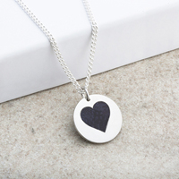 Heart Laser Engraved Silver Pendant