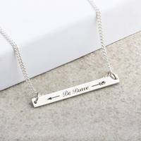 Be Brave Laser Engraved Bar Pendant