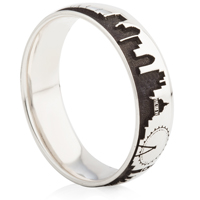 Laser Engraved Skyline Designed Ring