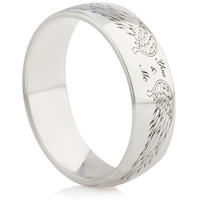 Laser Engraved Ring with Angel Wings