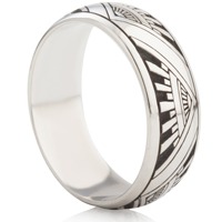 Art Deco Design Laser Engraved Ring