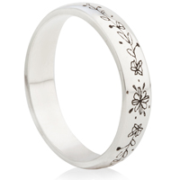 Hand Drawn Flower Laser Engraved Ring
