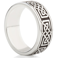 Silver Laser Engraved Braided Celtic Ring